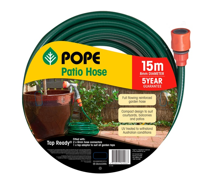Patio Hose 8mm x 15m Tap Ready