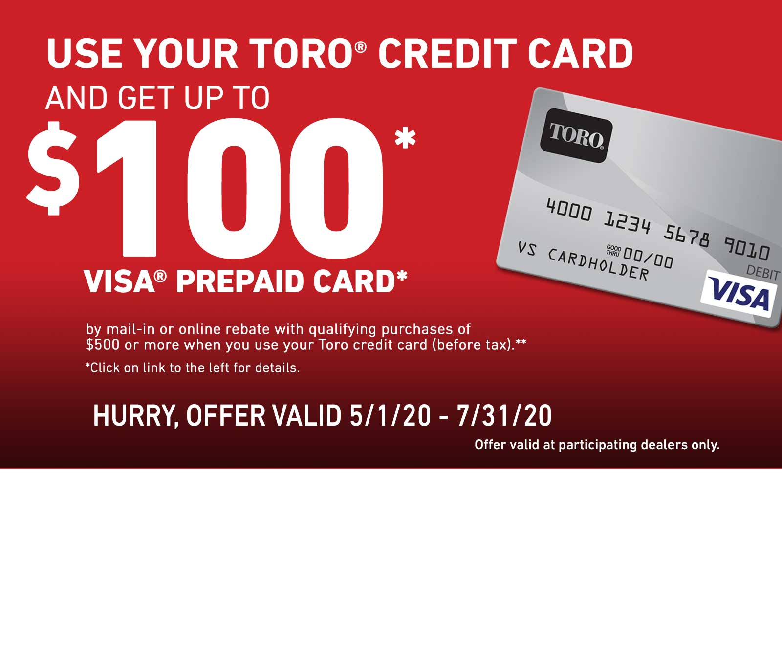 Toro Finance Rebate Offer