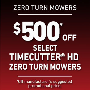 $500 Off Select TimeCutter HD Mowers