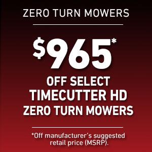 Dollars Off Sélectionnez les tondeuses TimeCutter HD