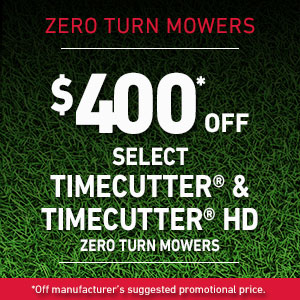 $400 Off Select TimeCutter  and TimeCutter HD Mowers