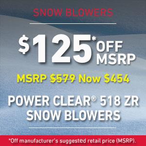 Dollars Off Power Clear 518 ZR Snow Blower