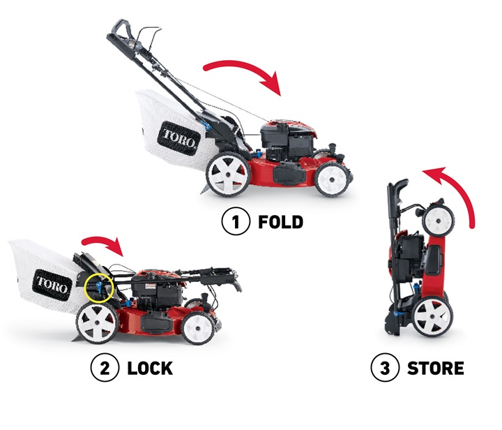 Easy storage with folding lawn mower - Toro with SmartStow