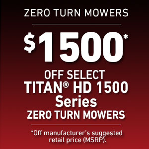 Dollars Off Select TITAN HD 1500 Mowers