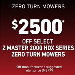 Dollars Off Select Z Master 2000 HDX Mowers