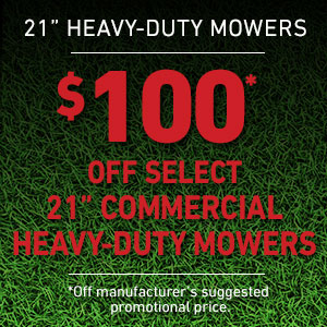 $100 Off Heavy Duty Mowers