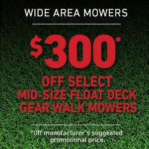 Dollars Off Mid-Size Float Deck Gear Drive Mowers