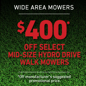 Dollars Off Mid-Size Hydro Drive Mowers
