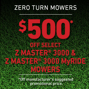Dollars Off Z Master 3000 Series and Z Master 3000 Series MyRIDE Mowers