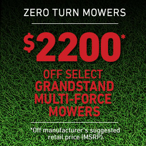 Dollars off GrandStand MULTI-FORCE Stand On Mowers