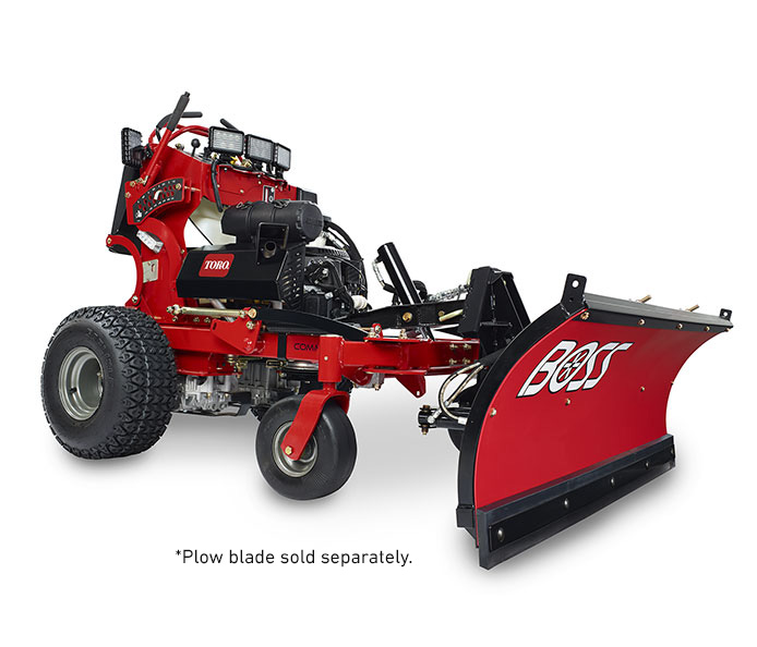 Toro Multi Force stand on mower with Boss plow attached