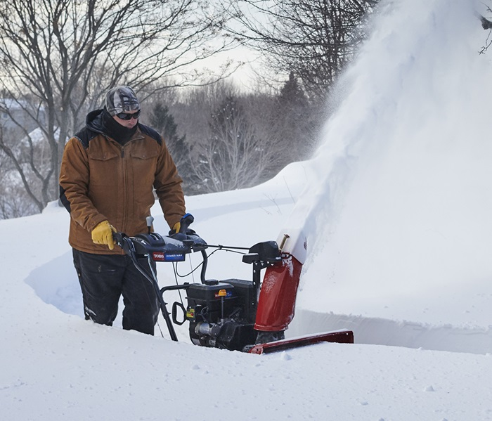 Smooth, tight turns are a snap with the Toro Power Max two-stage snow blower.