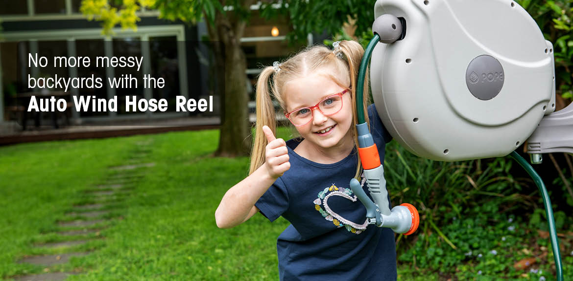 No more messy backyards with the Auto Wind Hose Reel