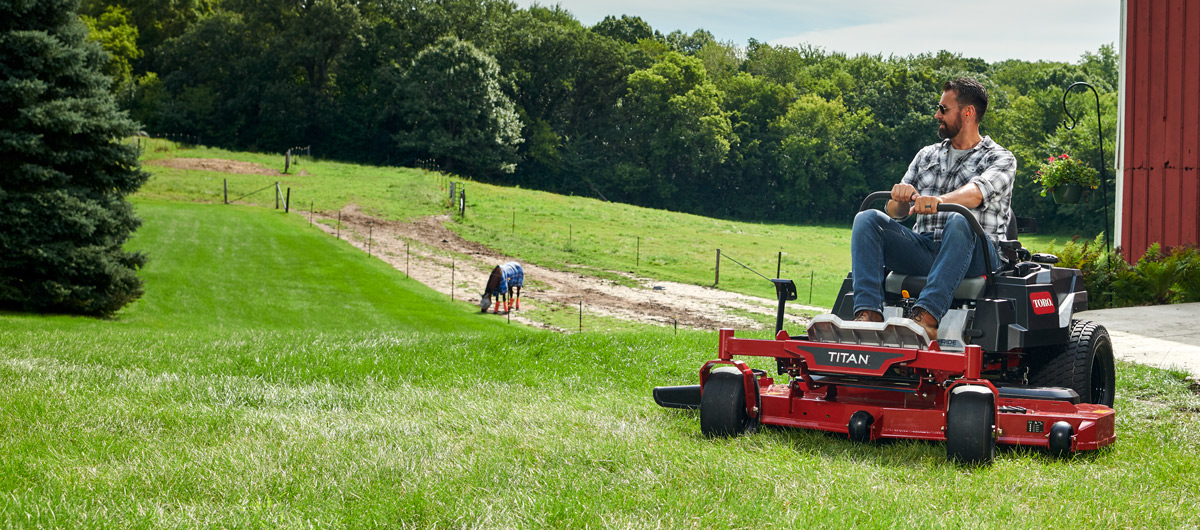 Make short work of king-size lots with the NEW TITAN zero turn mowers.