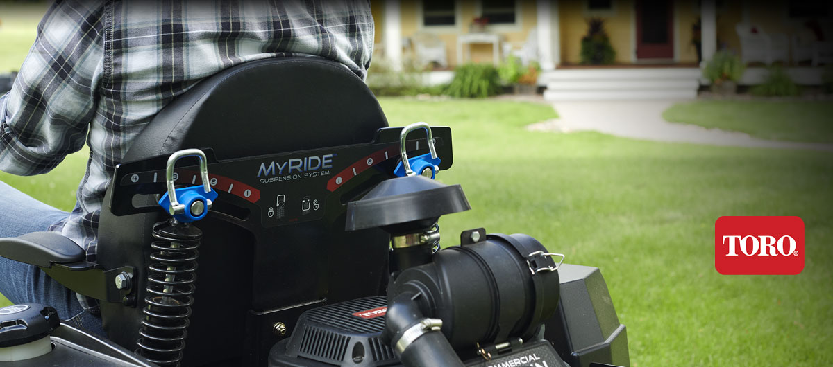 Most comfortable, durable zero turn mower with MyRide suspension system