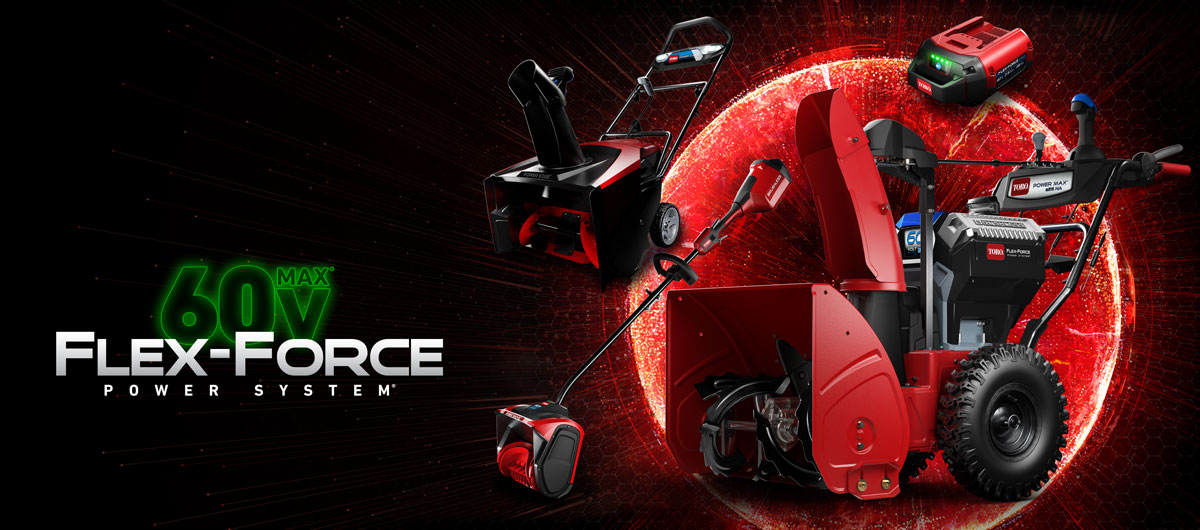 Image of the 60 volt two stage toro snowblower and other 60 volt tools including single stage snowblower and power shovel.