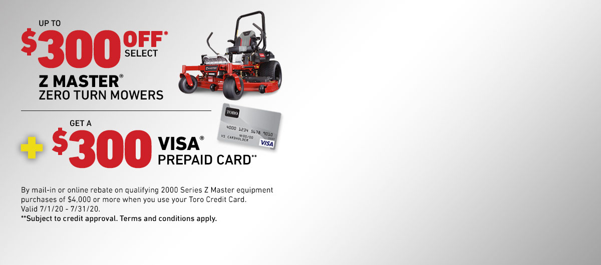 $300 Off a Toro Z Master Zero Turn Mower Plus Get A $300 Visa Prepaid Card