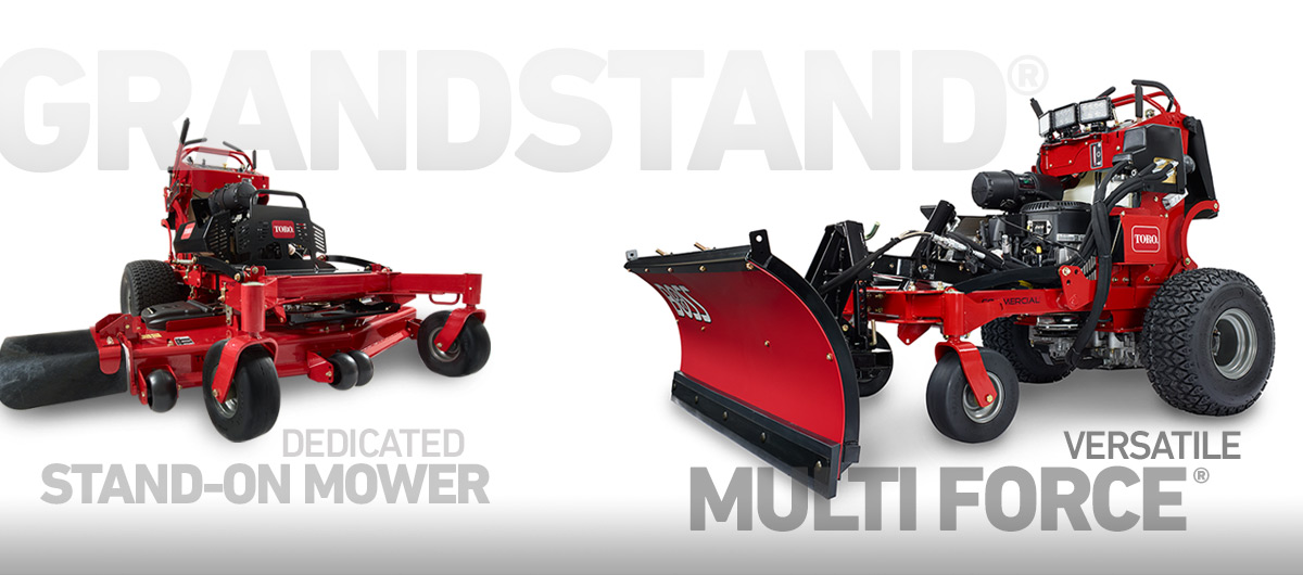 grandstand multi force and grass cutting stand on mowers