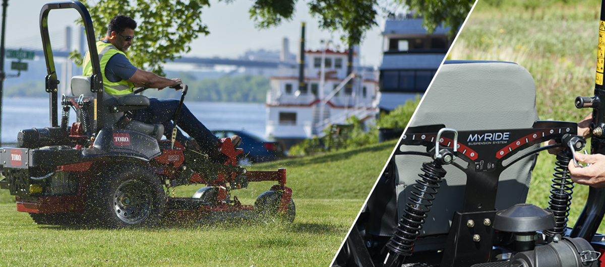Most comfortable zero turn mower has Toro MyRide suspension system